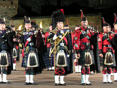 Pipers During the Massed Pipes and Drums