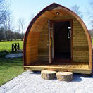 View of one of the wooden camping pods